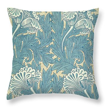 Design In Turquoise Throw Pillow by William Morris