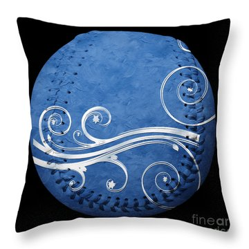 Designer Blue Baseball Square Throw Pillow by Andee Design