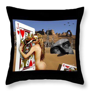 Desire And The Jack Of Hearts Throw Pillow by Keith Dillon