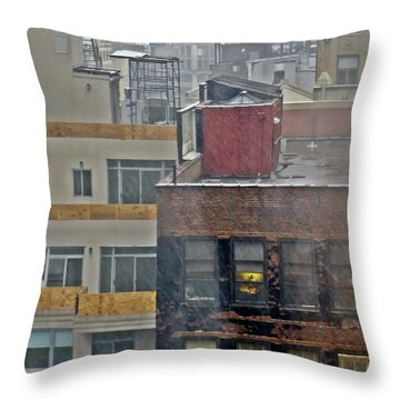 Throw Pillow featuring the photograph Desk Lamp Through Lit Window by Lilliana Mendez