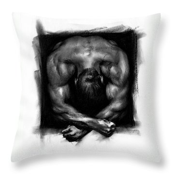 Throw Pillow featuring the drawing Despondent by Paul Davenport