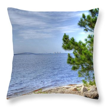 Destin Midbay Bridge Throw Pillow
