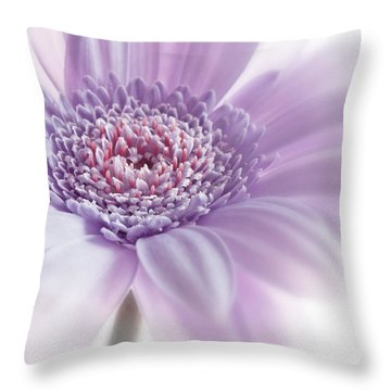 Close Up White Pink Flowers Macro Photography Art Throw Pillow