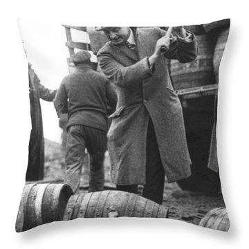 Destroying Barrels Of Beer Throw Pillow