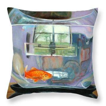 detail fish bowl of Fishing Throw Pillow