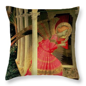 Detail From The Annunciation Showing The Angel Gabriel Throw Pillow by Fra Angelico