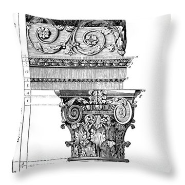 Detail Of A Corinthian Column And Frieze I Throw Pillow by Suzanne Powers
