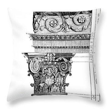 Detail Of A Corinthian Column And Frieze II Throw Pillow by Suzanne Powers