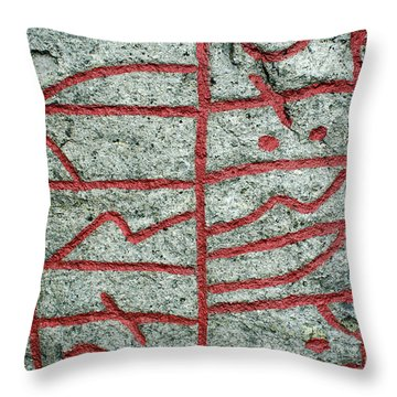 Throw Pillow featuring the photograph Detail Of A Runic Stone by Kennerth and Birgitta Kullman