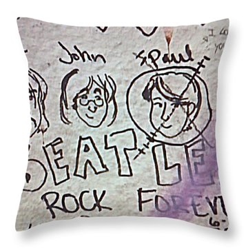 Detail Of Graffiti On Abbey Road Sign Throw Pillow by George Pedro