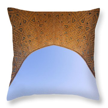 Detail Of The Kalon Mosque At Bukhara In Uzbekistan Throw Pillow by Robert Preston