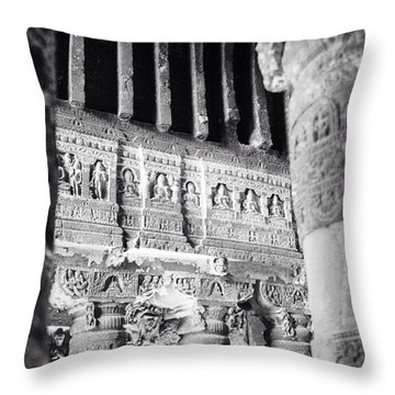 Details Of Carvings In Ajanta Caves Throw Pillow