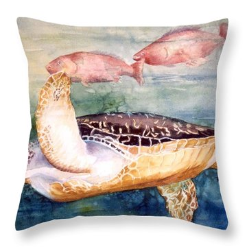 Determined - Loggerhead Sea Turtle Throw Pillow by Roxanne Tobaison