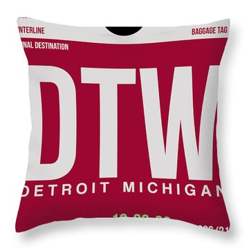Detroit Airport Poster 2 Throw Pillow