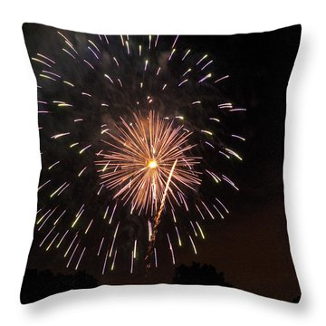 Detroit Area Fireworks -10 Throw Pillow by Paul Cannon