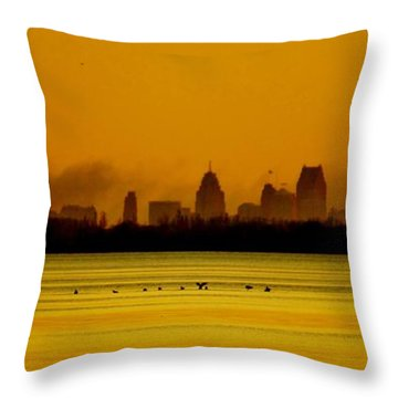 Detroit At Dawn Throw Pillow