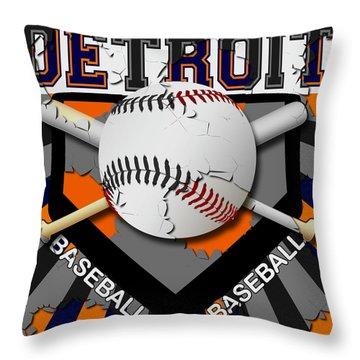 Detroit Baseball  Throw Pillow by David G Paul