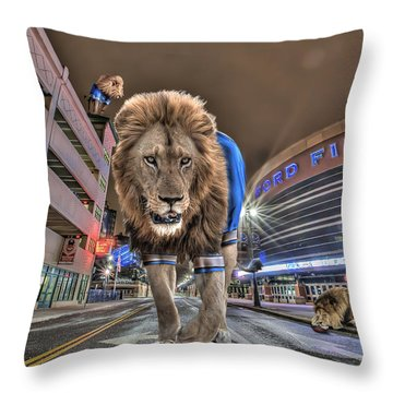 Detroit Lions At Ford Field Throw Pillow