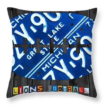 Detroit Lions Football Vintage License Plate Art Throw Pillow by Design Turnpike