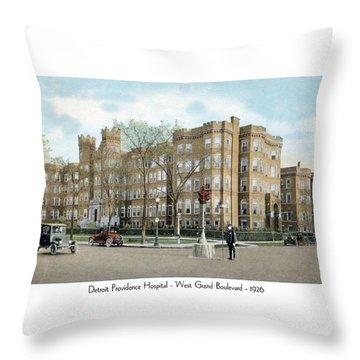 Detroit - Providence Hospital - West Grand Boulevard - 1926 Throw Pillow
