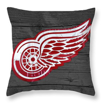Detroit Red Wings Recycled Vintage Michigan License Plate Fan Art On Distressed Wood Throw Pillow