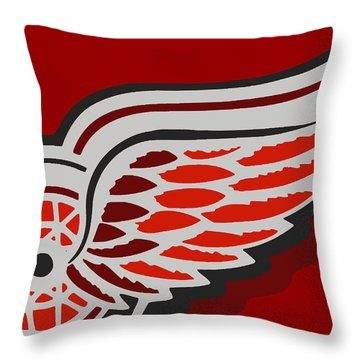 Detroit Red Wings Throw Pillow by Tony Rubino