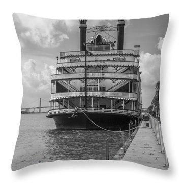 Detroit River Princess Black And White  Throw Pillow