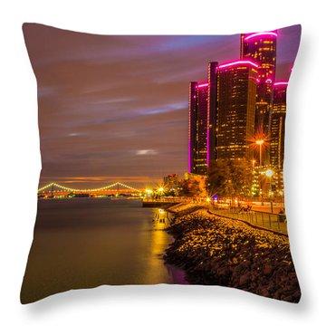 Detroit Riverwalk Throw Pillow