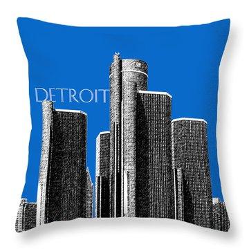 Detroit Skyline 1 - Blue Throw Pillow by DB Artist