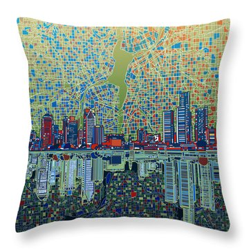Detroit Skyline Abstract 3 Throw Pillow by Bekim Art