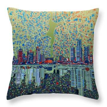 Detroit Skyline Abstract 3 Throw Pillow