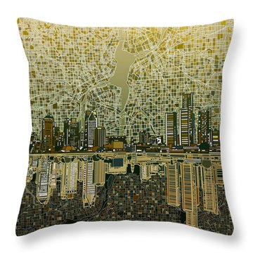 Detroit Skyline Abstract 4 Throw Pillow by Bekim Art