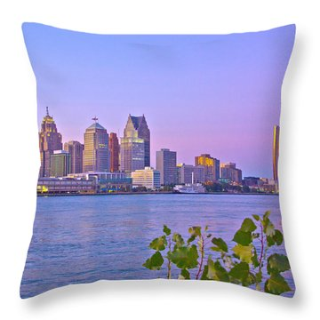 Detroit Skyline At Sunset Throw Pillow