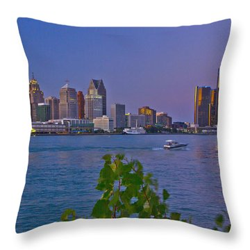 Detroit Skyline At Twilite With Boat Throw Pillow