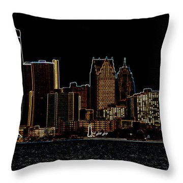 Detroit Skyline Throw Pillow