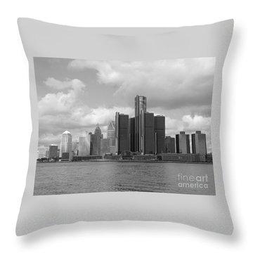 Detroit Skyscape Throw Pillow