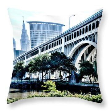 Throw Pillow featuring the photograph Detroit-superior Bridge - Cleveland Ohio - 1 by Mark Madere