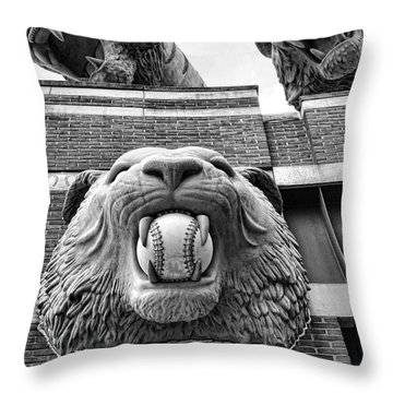 Detroit Tigers Comerica Park Tiger Statues Throw Pillow by Gordon Dean II