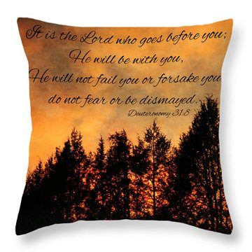 Deuteronomy The Lord Goes Before You Throw Pillow