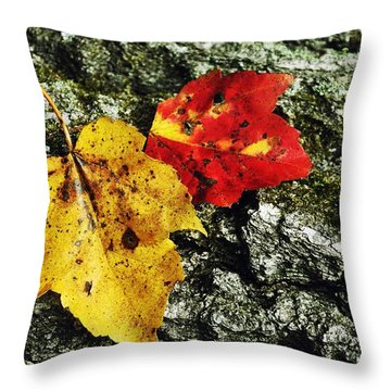 Deux Feuilles Throw Pillow by JAMART Photography