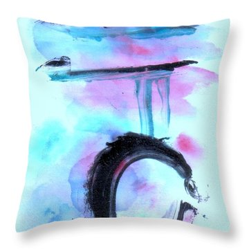 Throw Pillow featuring the painting Devil Dance by Lesley Fletcher