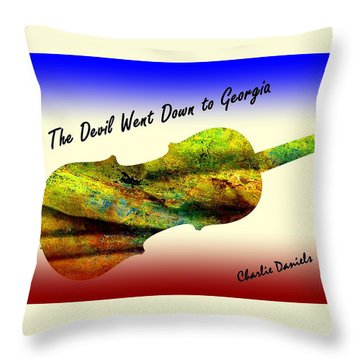 Devil Went Down To Georgia Daniels Fiddle  Throw Pillow