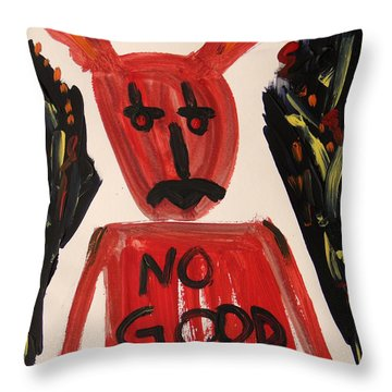Throw Pillow featuring the painting devil with NO GOOD tee shirt by Mary Carol Williams