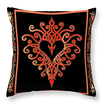 Throw Pillow featuring the digital art Devil's Heart by Vagabond Folk Art - Virginia Vivier