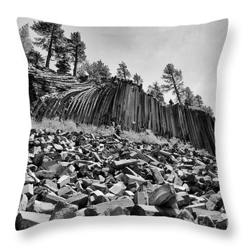 Devils Postpile National Monument Throw Pillow by Terry Garvin