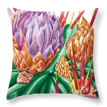 Devil's Tongue Cactus Flower Throw Pillow