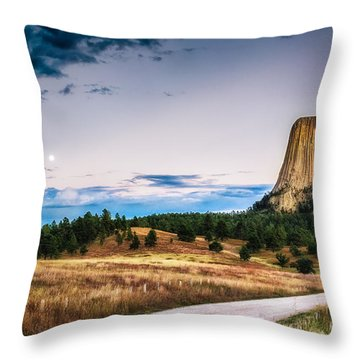 Devils Tower At Sunset And Moonrise Throw Pillow