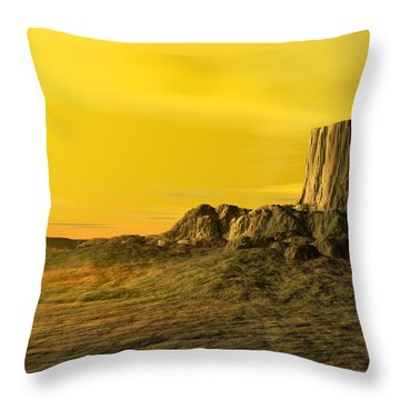Devils Tower Throw Pillow by John Pangia