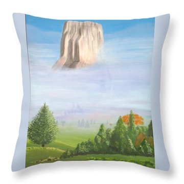 Throw Pillow featuring the painting Devil's Tower  by Phyllis Kaltenbach