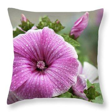 Dew Drop Petals Throw Pillow